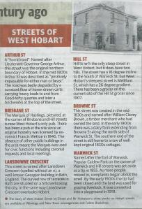 A sample of information about the origins of West Hobart street names.